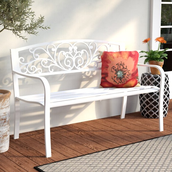 Well Known Alvah Slatted Cast Iron And Tubular Steel Garden Benches Pertaining To Outdoor Iron Bench (View 13 of 20)