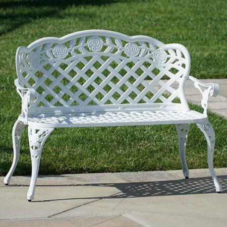 Well Known Buy Belleze Outdoor Garden Bench Antique Cast Aluminum For Montezuma Cast Aluminum Garden Benches (View 8 of 20)