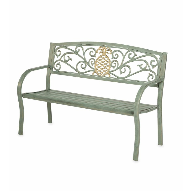Well Known Cavin Garden Benches Regarding Pineapple Metal Garden Bench (View 19 of 20)