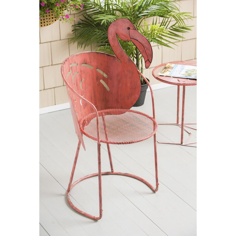 Well Known Flamingo Metal Garden Benches Throughout Flamingo Iron Bistro Table With Chair (View 13 of 20)