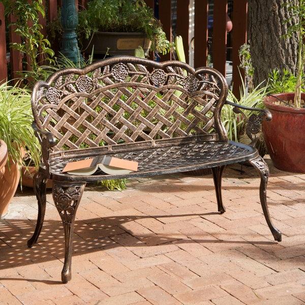Well Known Ismenia Checkered Outdoor Cast Aluminum Patio Garden Benches Throughout Madama Copper Garden Bench (View 16 of 20)