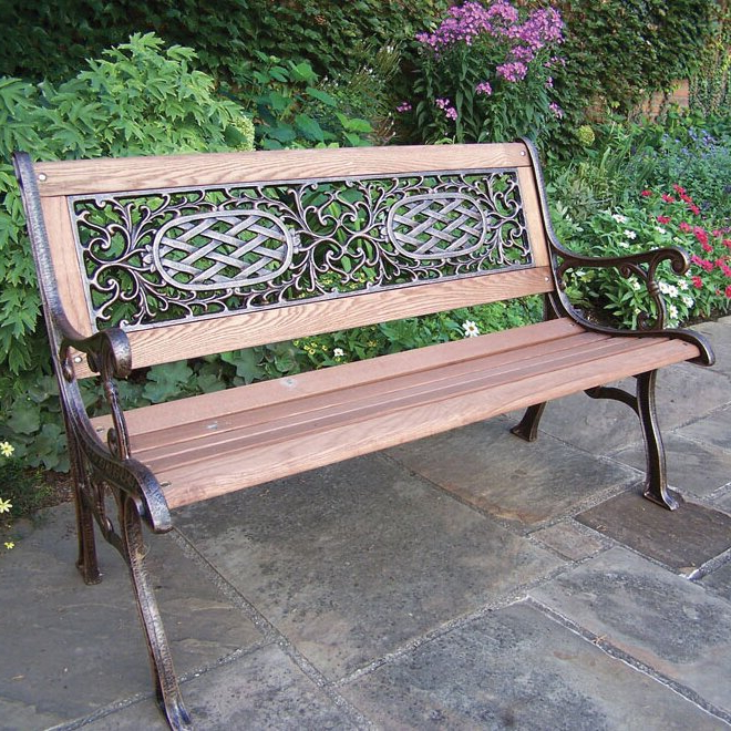 Well Known Mcgrady Wood And Cast Iron Park Bench Throughout Madeline Vintage Bird Cast Iron Garden Benches (View 10 of 20)