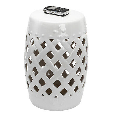 Well Known Outsunny Modern Ceramic Lattice Garden Stool Accent Table Decorative White Pertaining To Standwood Metal Garden Stools (View 12 of 20)