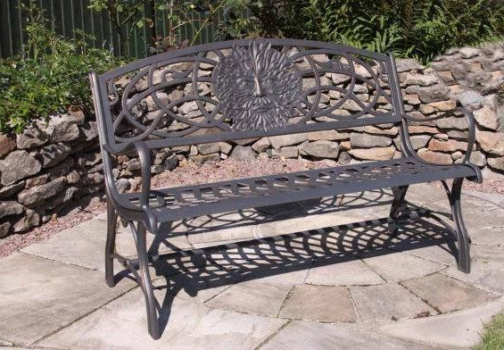 Well Liked Flamingo Metal Garden Benches Inside Solid Cast Iron Bench With Face Design (View 18 of 20)