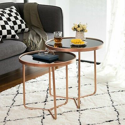 Well Liked Messina Set Of 2 Round Nesting Table/side Table Black Glass(copper/black) St68cp (View 18 of 20)