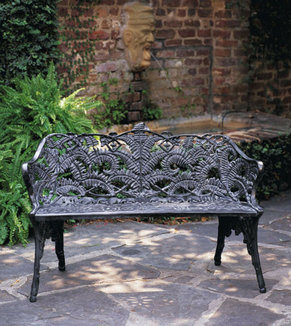 Well Liked Outdoor Patiofurniture Cast Aluminum Fern Victorian Garden Bench Antique Repro (View 8 of 20)