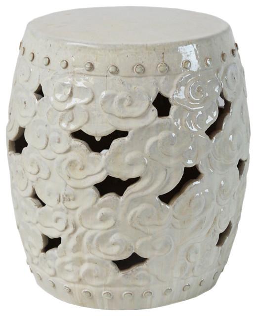 White Ceramic Barrel Cloud Garden Stool Throughout Most Recent Ceramic Garden Stools (View 4 of 20)
