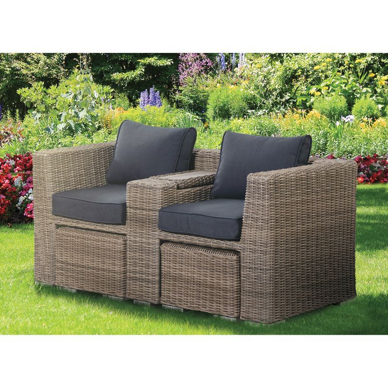 Wicker Tete A Tete Benches Regarding Most Recently Released Buy Lincoln Rattan Wicker Tete A Tete And Foot Stool (View 17 of 20)