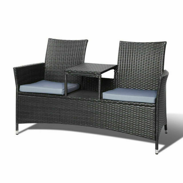 Wicker Tete A Tete Benches With Famous Gardeon Ff Forres Bk 2 Seat Outdoor Wicker Bench – Black (View 7 of 20)