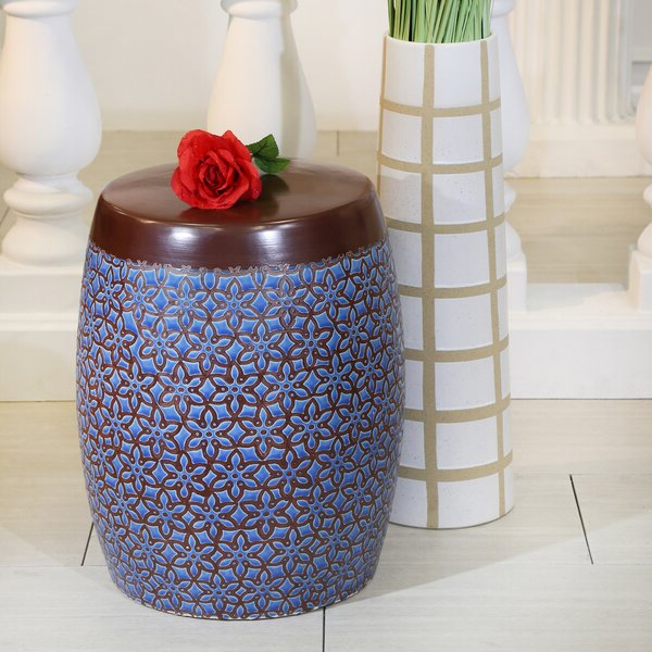 Widely Used Glendale Heights Birds And Butterflies Garden Stools Regarding Ceramic Floral Stool (View 8 of 20)