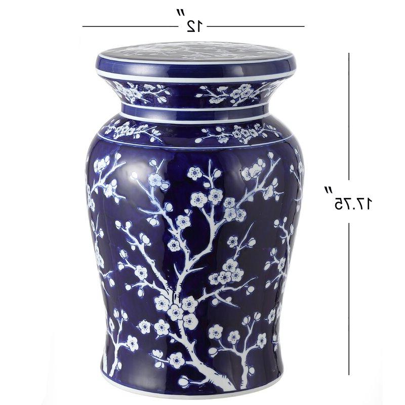 Williar Cherry Blossom Ceramic Garden Stool For Fashionable Williar Cherry Blossom Ceramic Garden Stools (View 2 of 20)