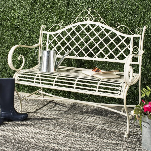 Wrought Iron Bench With Regard To Most Current Alvah Slatted Cast Iron And Tubular Steel Garden Benches (View 15 of 20)