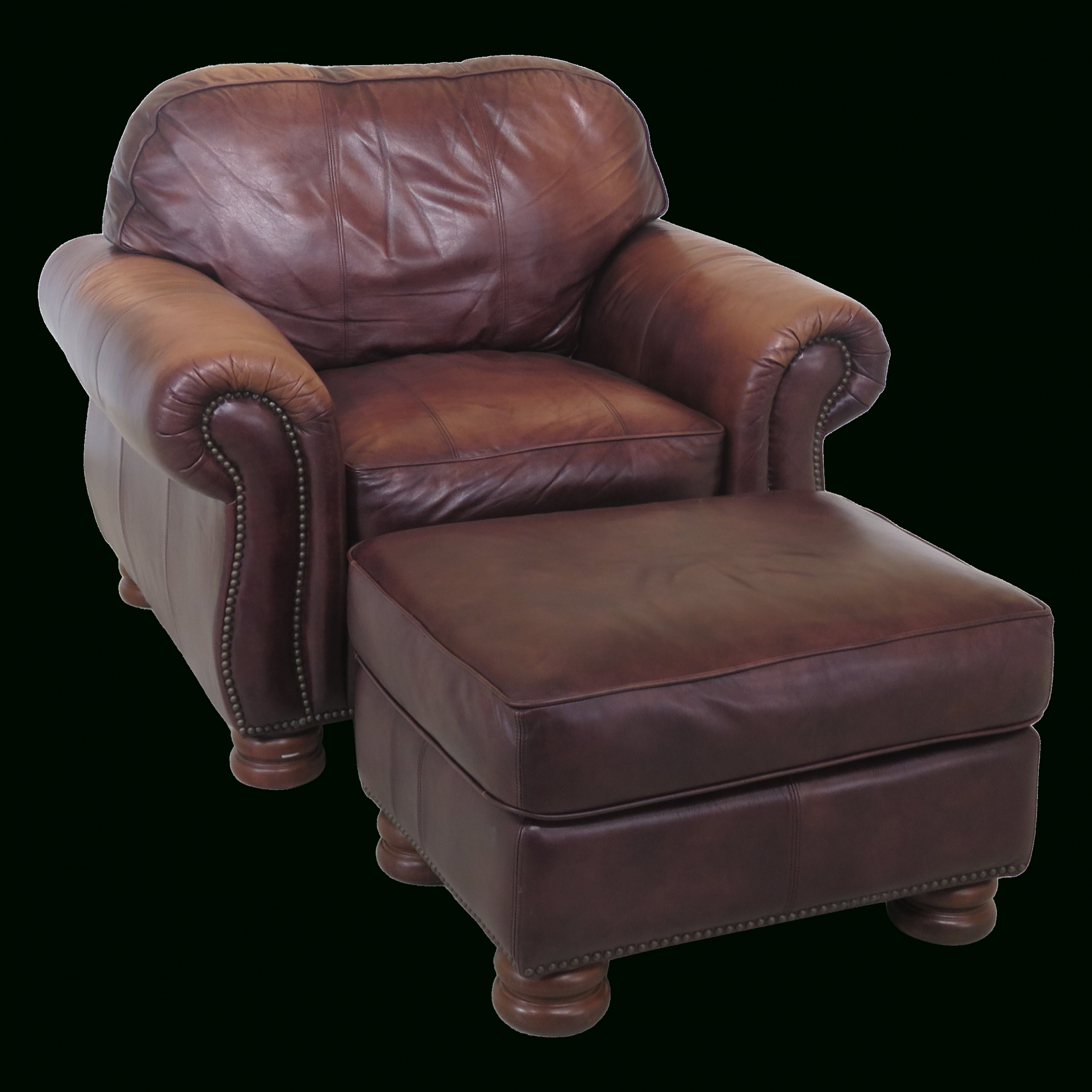 1990s Vintage Thomasville Leather Club Chair & Matching Intended For Popular Sheldon Tufted Top Grain Leather Club Chairs (View 10 of 20)