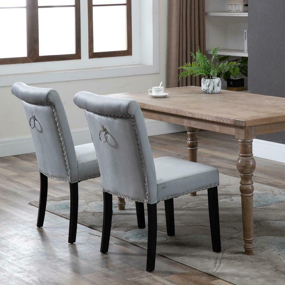 2/4/6 Set Velvet Dining Chair Accent Upholstered Wood Leg Chair Kitchen  Formal Pertaining To Famous Carlton Wood Leg Upholstered Dining Chairs (View 11 of 20)