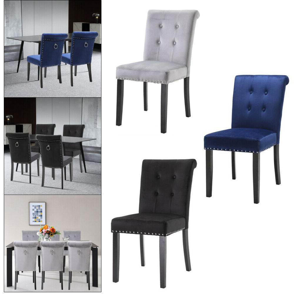 2/4/6 Set Velvet Dining Chair Accent Upholstered Wood Leg Chair Kitchen  Formal Pertaining To Favorite Carlton Wood Leg Upholstered Dining Chairs (View 4 of 20)