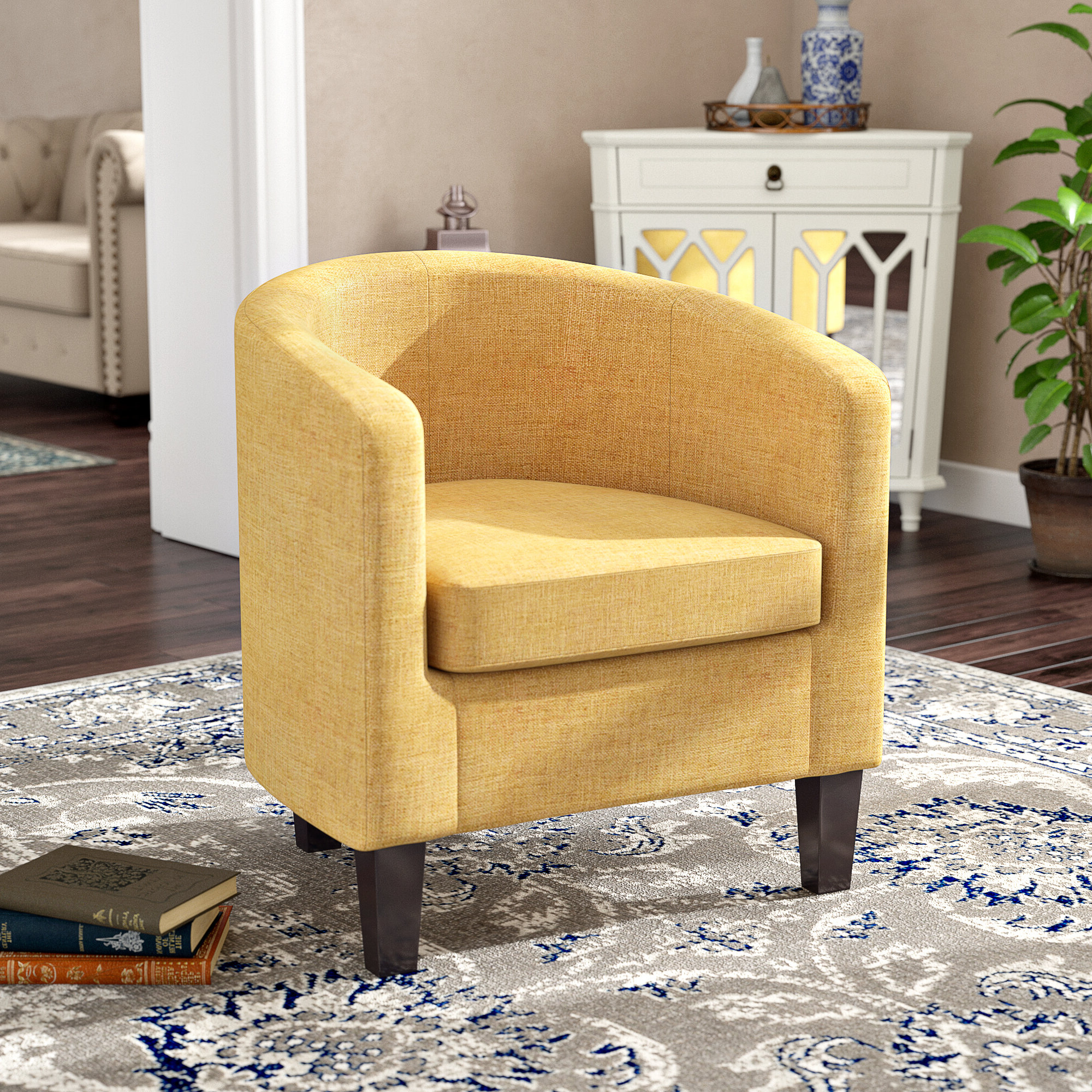 2019 Adelia Barrel Chair Intended For Danow Polyester Barrel Chairs (View 2 of 20)