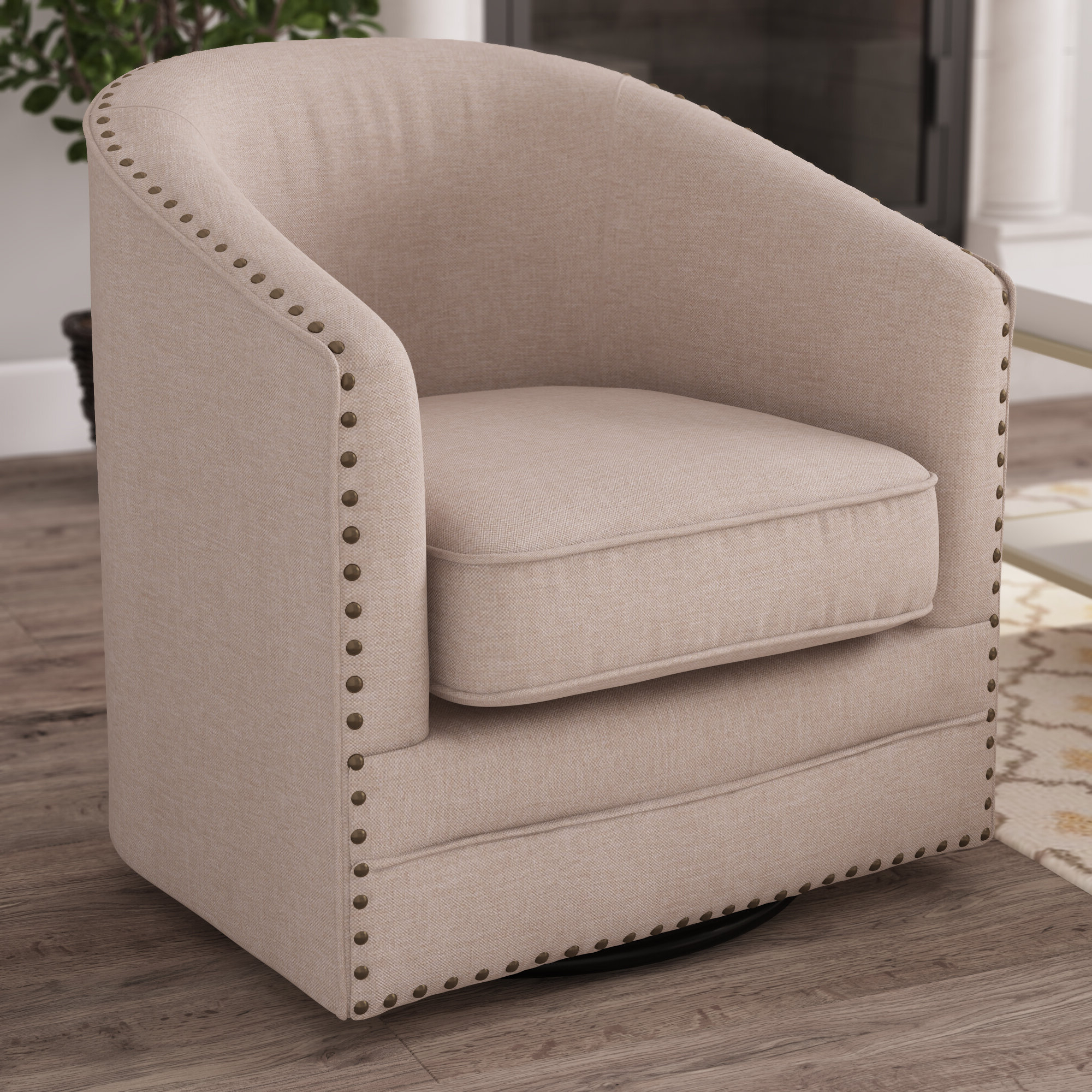 2019 Barnard Polyester Barrel Chairs Intended For Teri Swivel Barrel Chair (View 10 of 20)