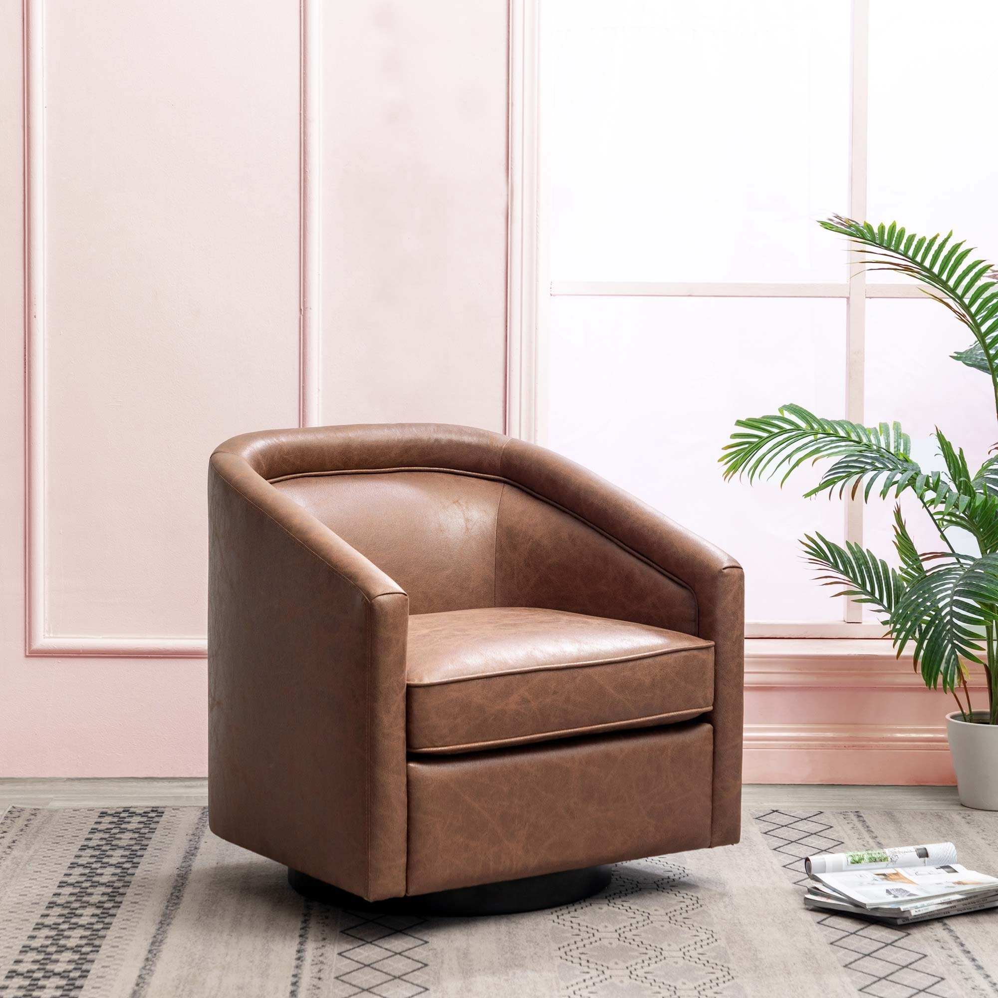 2019 Faux Leather Barrel Chairs Throughout Kotter Home Faux Leather Swivel Barrel Chair (View 7 of 20)