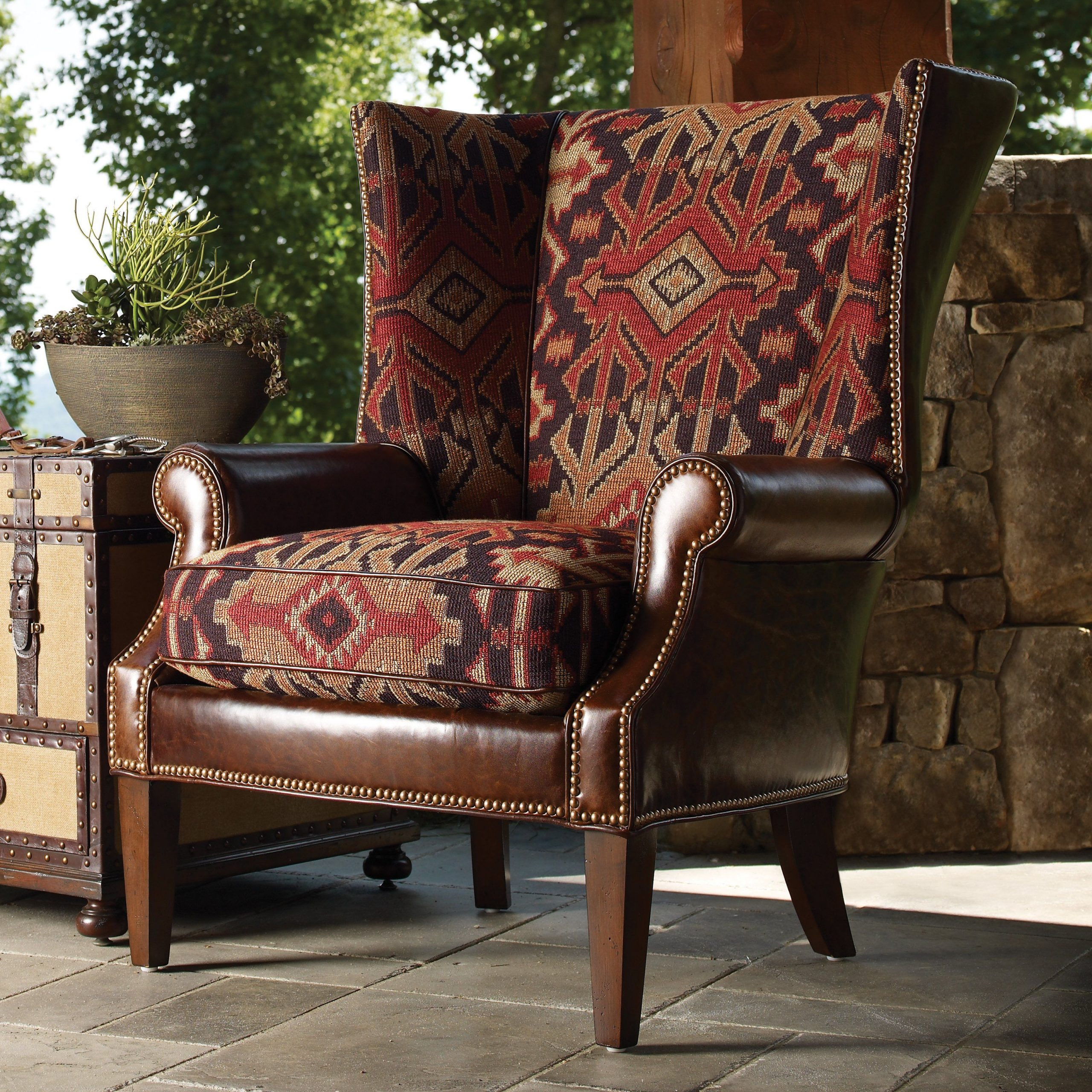 2019 Lexington Home Brands Fieldale Lodge Marissa Leather And Regarding Marisa Faux Leather Wingback Chairs (View 2 of 20)