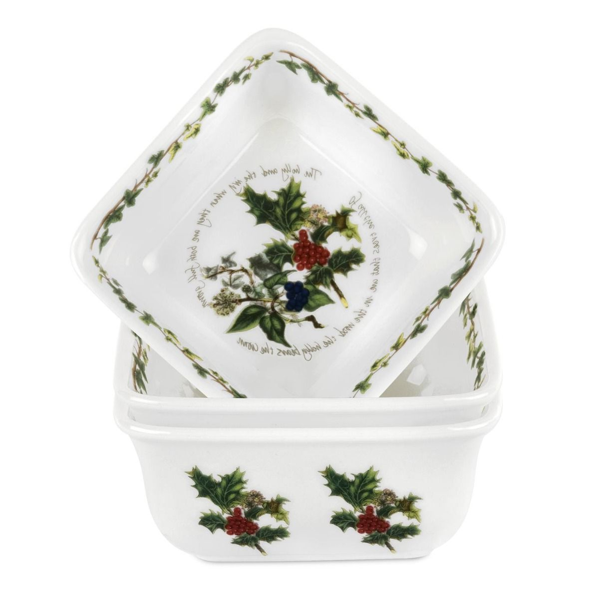 2019 Portmeirion The Holly And The Ivy Mini Square Dishes Set Of 3 Throughout Portmeirion Armchairs (View 13 of 20)