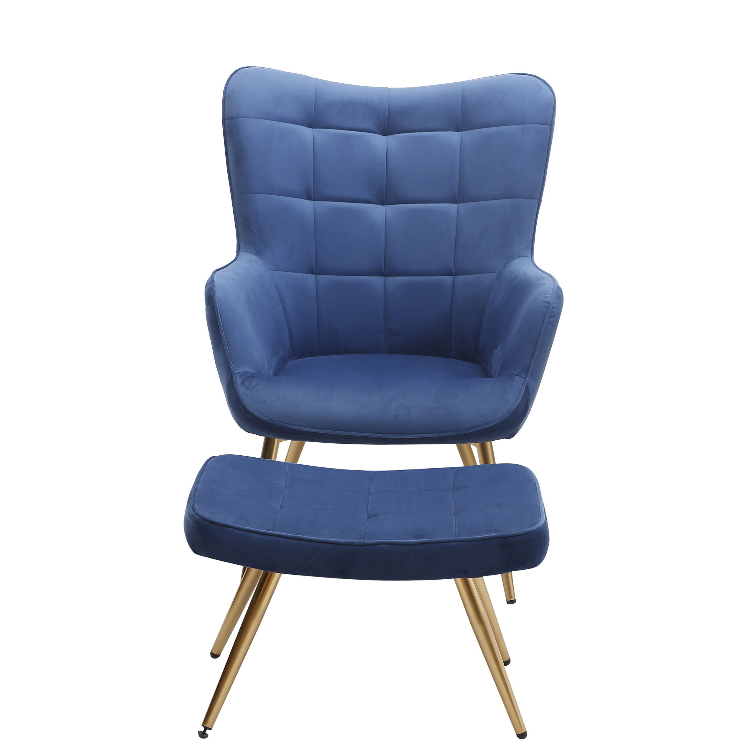 """2019 Sau 29"""" W Tufted Velvet Wingback Chair And Ottoman Pertaining To Hallsville Performance Velvet Armchairs And Ottoman (View 14 of 20)"""