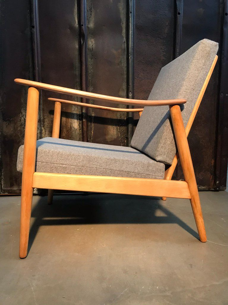 2019 Vintage Mid Century Modern Danish Easy Lounge Chair In Throughout Beachwood Arm Chairs (View 8 of 20)