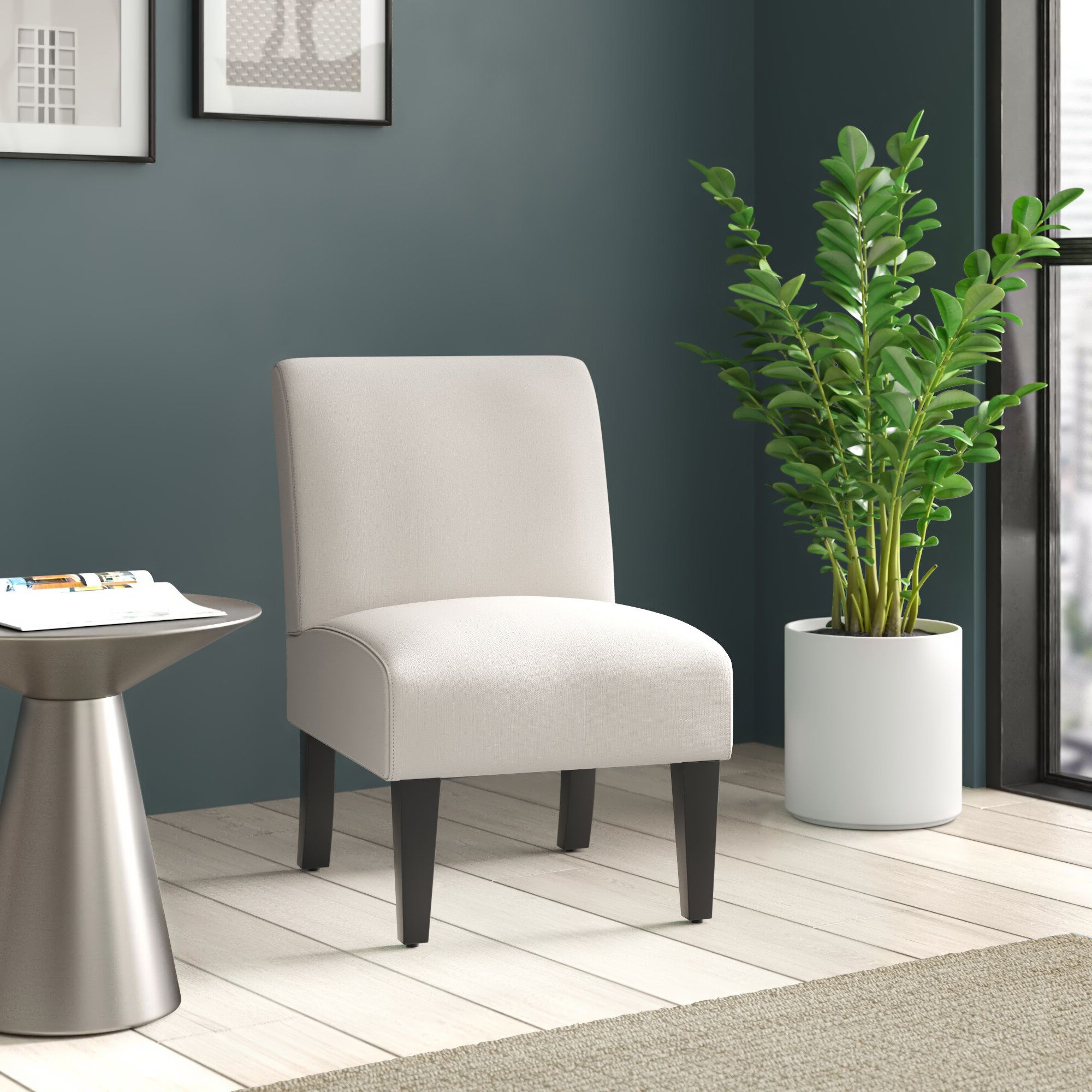 2020 Belleze Armless Contemporary Upholstered Single Curved Throughout Easterling Velvet Slipper Chairs (View 5 of 20)
