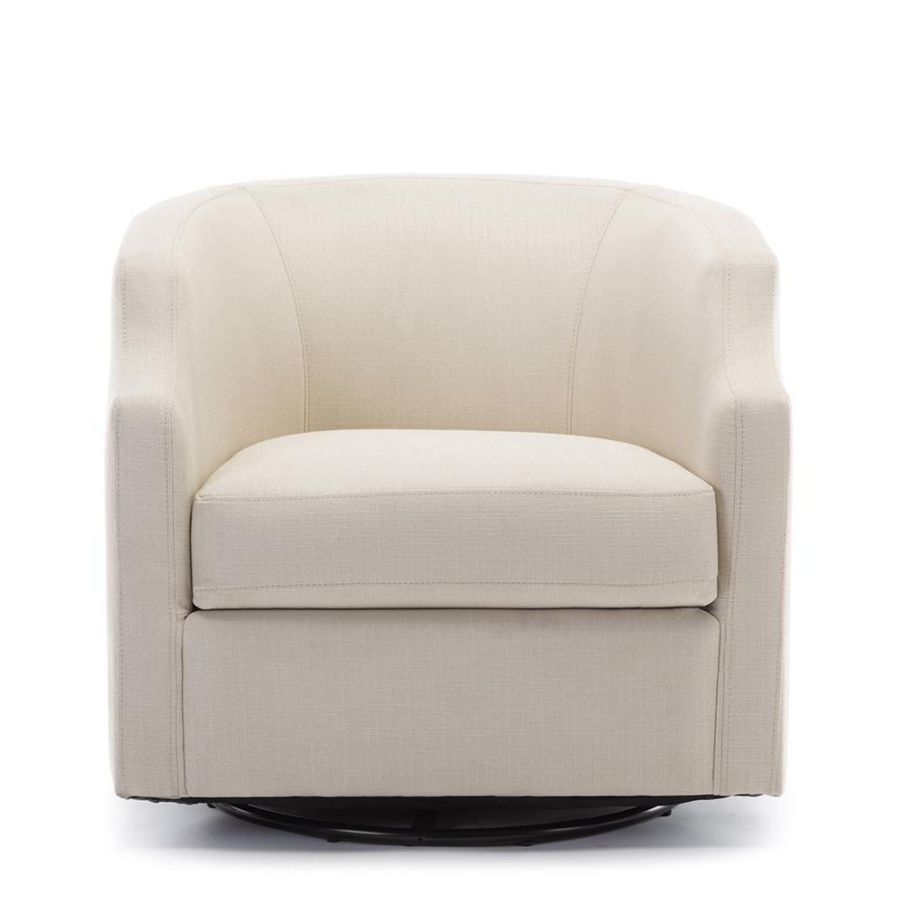 2020 Danow Polyester Barrel Chairs Intended For Unbranded Infinity Linen Swivel/rocker Barrel Chair 8092 04 – The Home Depot (View 7 of 20)