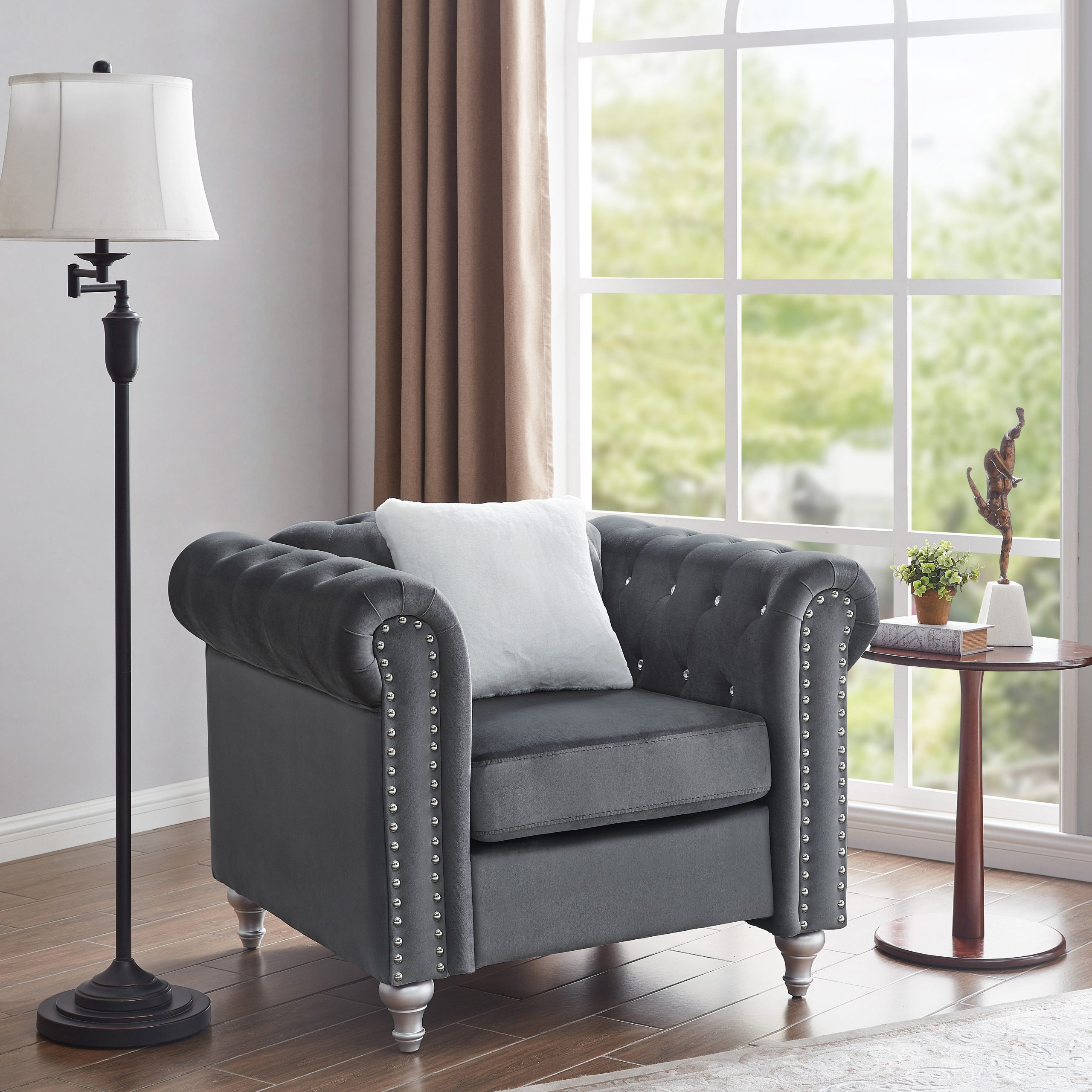 2020 Lassiter Tufted Chesterfield Chair With Starks Tufted Fabric Chesterfield Chair And Ottoman Sets (View 2 of 20)