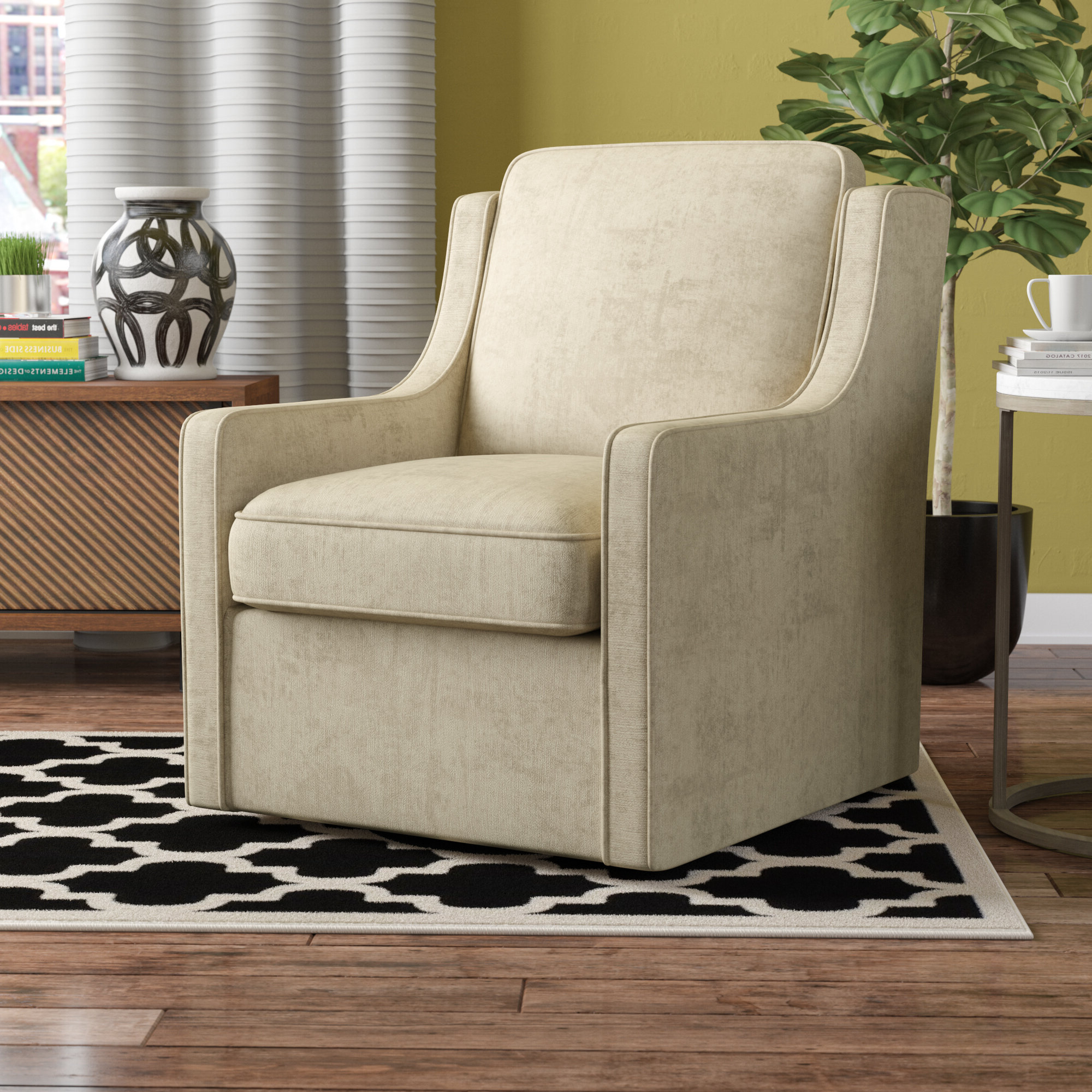 2020 Vineland Polyester Swivel Armchairs Throughout Vineland Swivel Armchair (View 2 of 20)