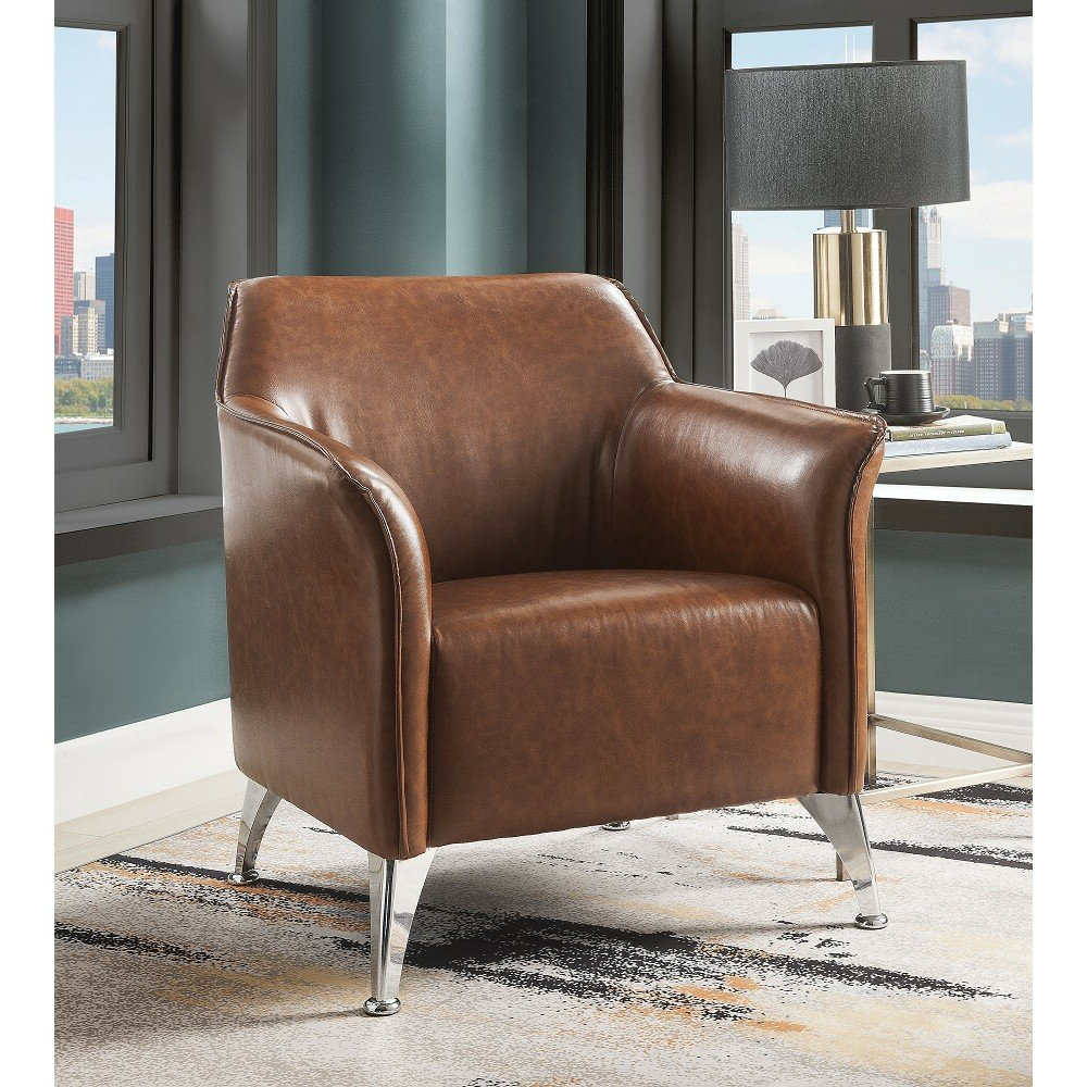 """31"""" W Faux Leather Armchair Throughout Favorite Jarin Faux Leather Armchairs (View 3 of 20)"""