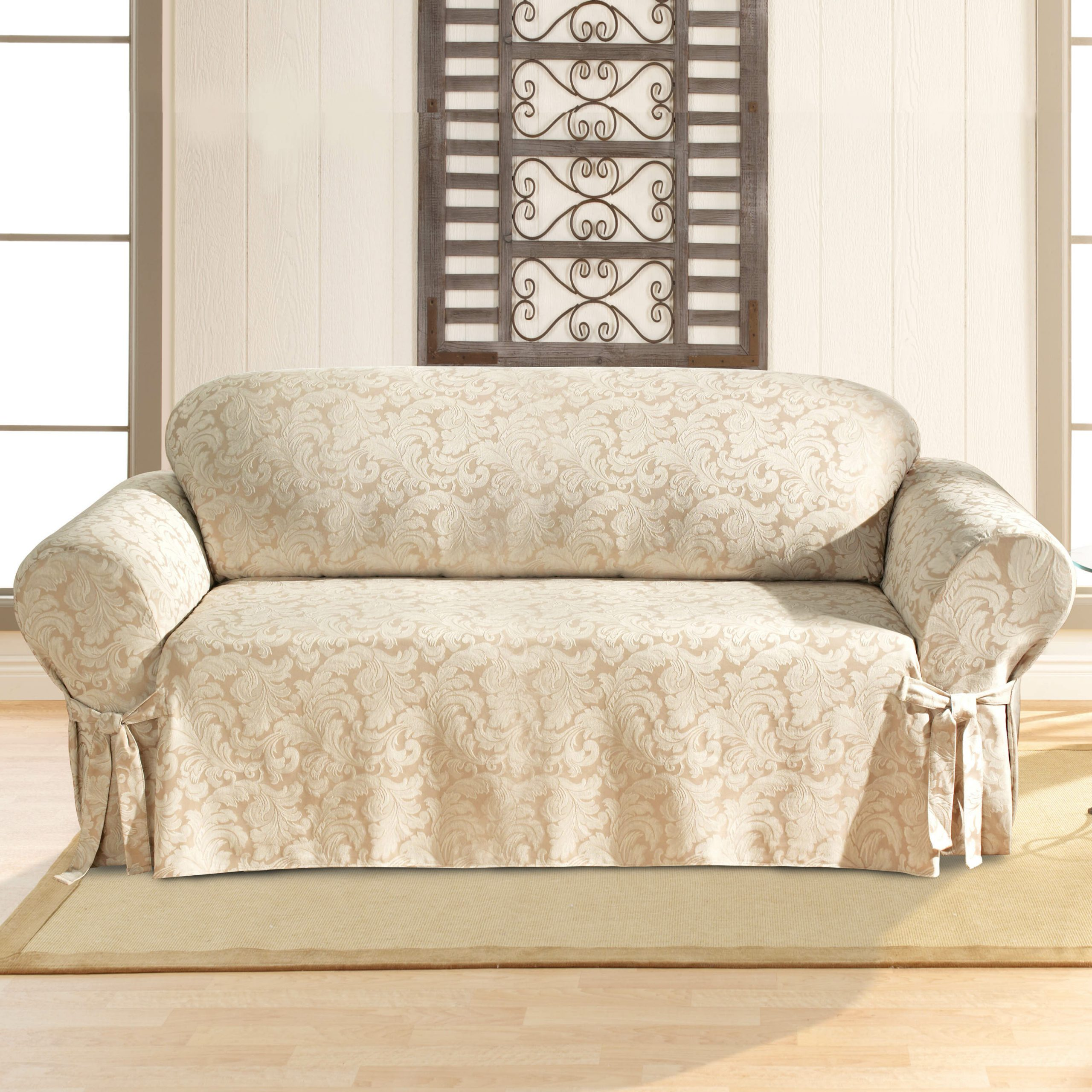 Abbottsmoor Barrel Chair And Ottoman Sets Pertaining To Newest Scroll Classic Box Cushion Sofa Slipcover (View 5 of 20)