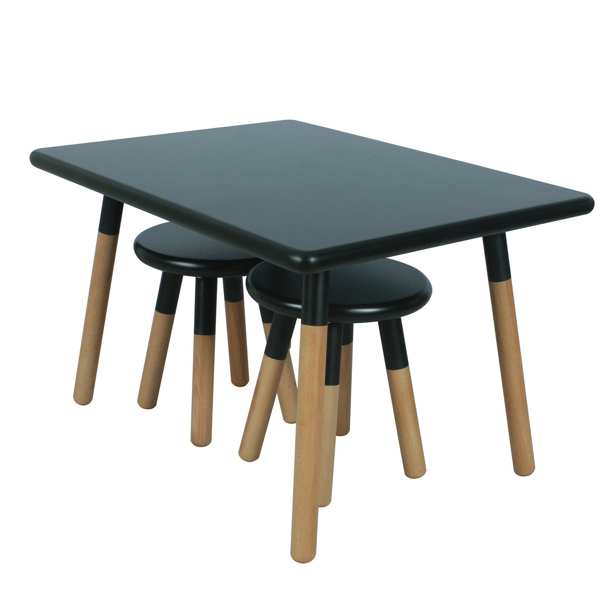 Ace Casual Kids Dipped Table And Stool Set Black One Size Regarding Famous Ansby Barrel Chairs (View 18 of 20)