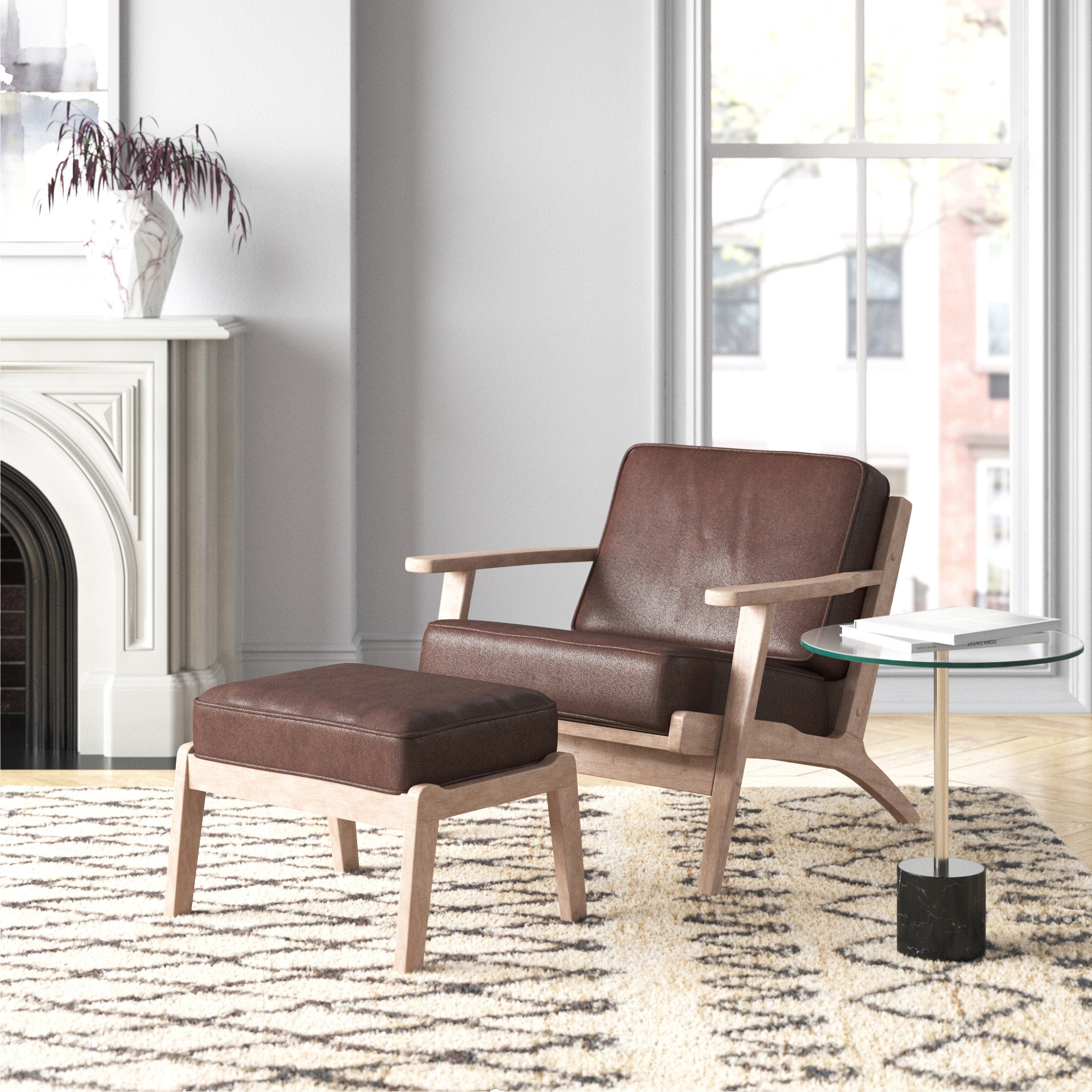 Adal Mid Century Modern Dark Brown Faux Leather Effect Fabric Upholstered Antique Oak Finished 2 Piece Wood Armchair And Ottoman Set Throughout Newest Modern Armchairs And Ottoman (View 14 of 20)