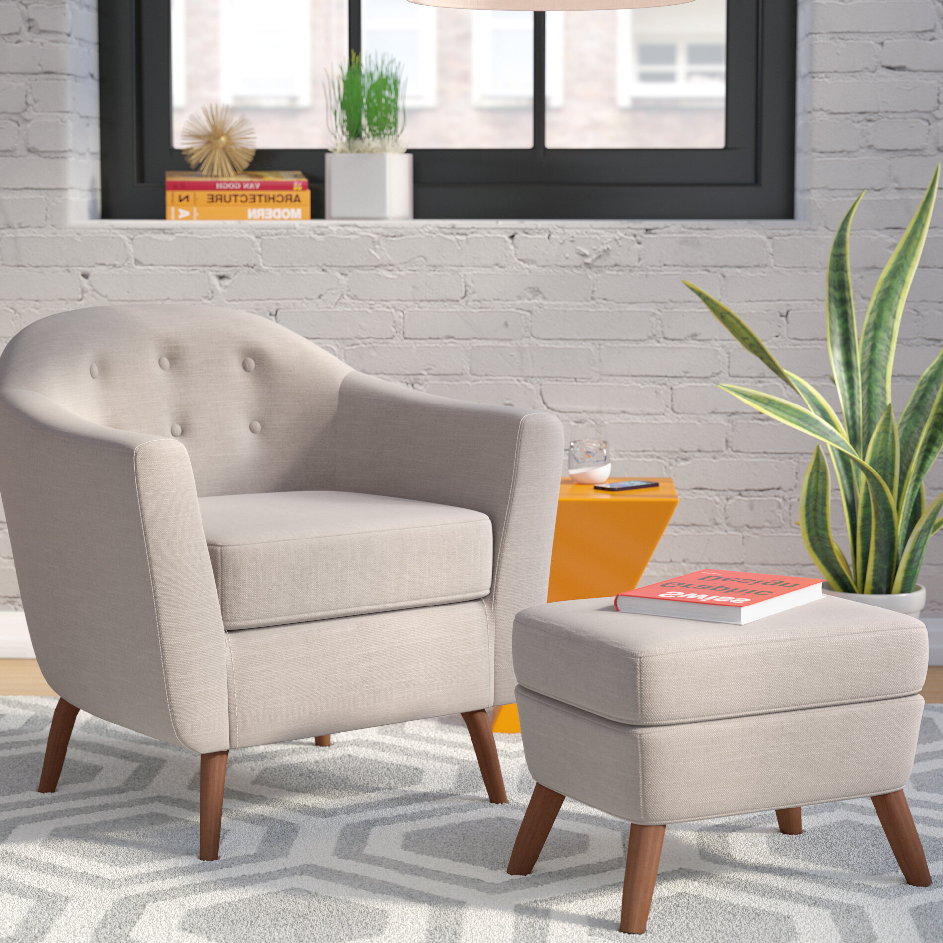 Annegret Faux Leather Barrel Chair And Ottoman Sets In Well Known Ottoman Included Small Accent Chairs You'll Love In (View 13 of 20)