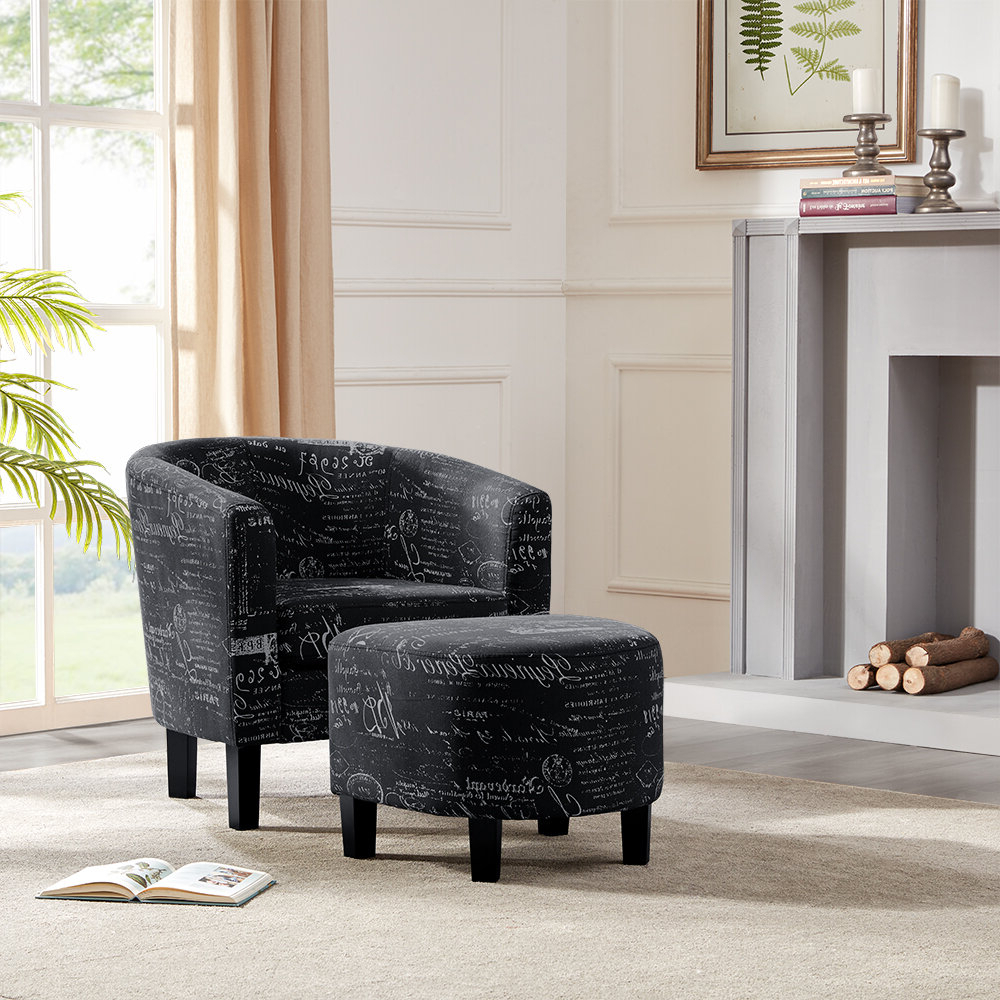 Annegret Faux Leather Barrel Chair And Ottoman Sets Inside Well Known Black Ottoman Included Accent Chairs You'll Love In (View 17 of 20)
