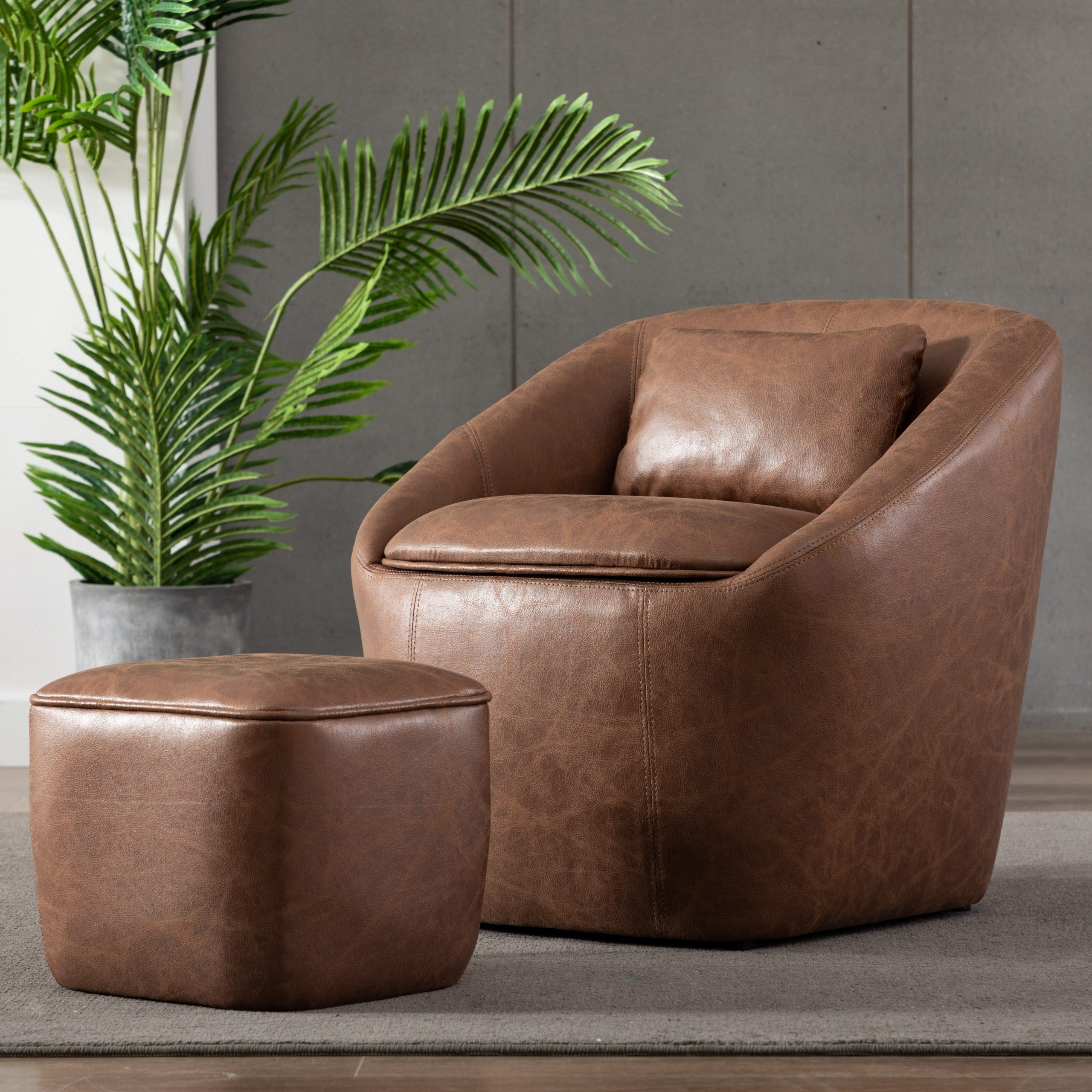 Annegret Faux Leather Barrel Chair And Ottoman Sets Pertaining To Most Recently Released Raguel Barrel Chair And Ottoman (View 2 of 20)