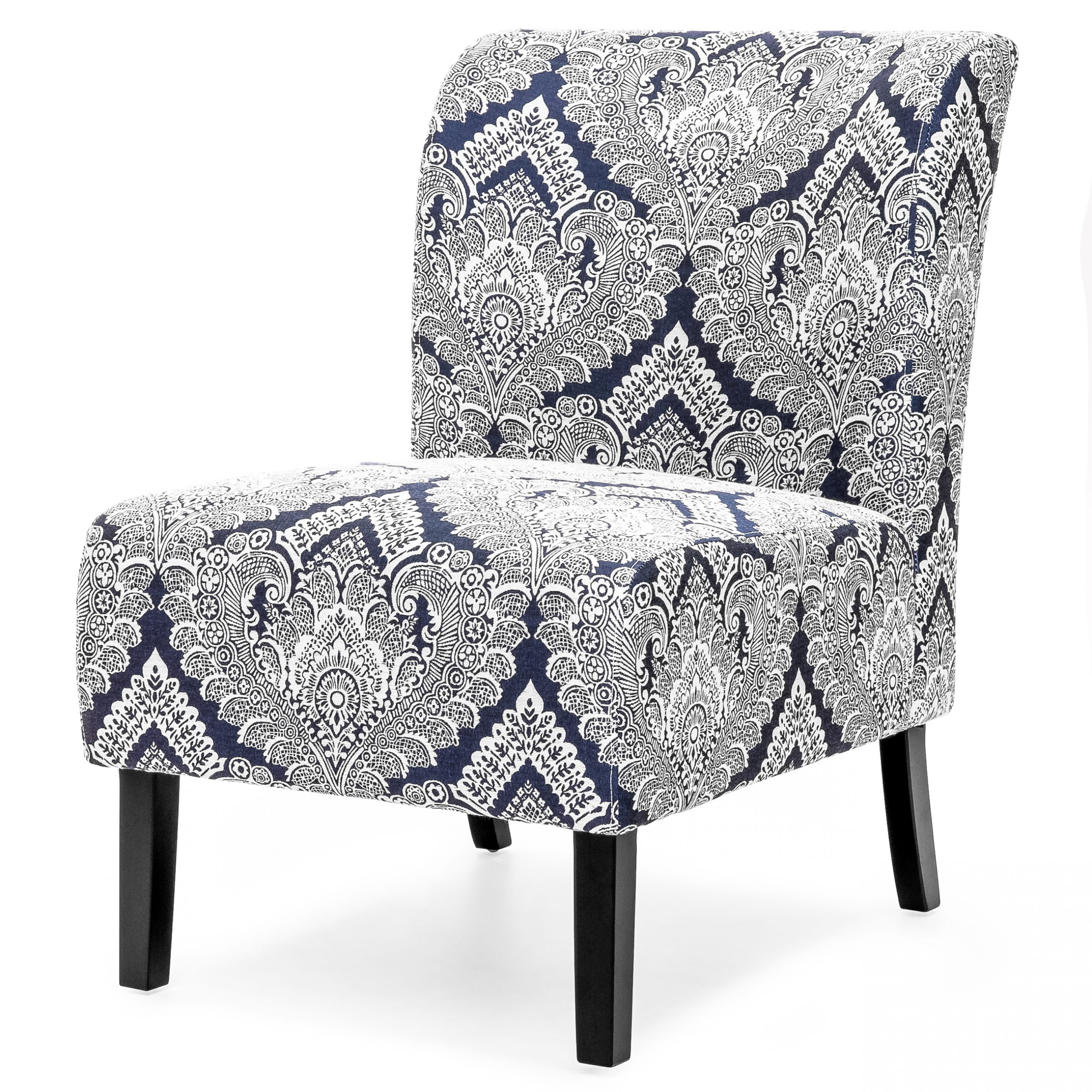 Armless Upholstered Slipper Chairs Throughout Newest Best Choice Products Modern Contemporary Upholstered Armless Accent Chair (blue/white) – Walmart (View 12 of 20)