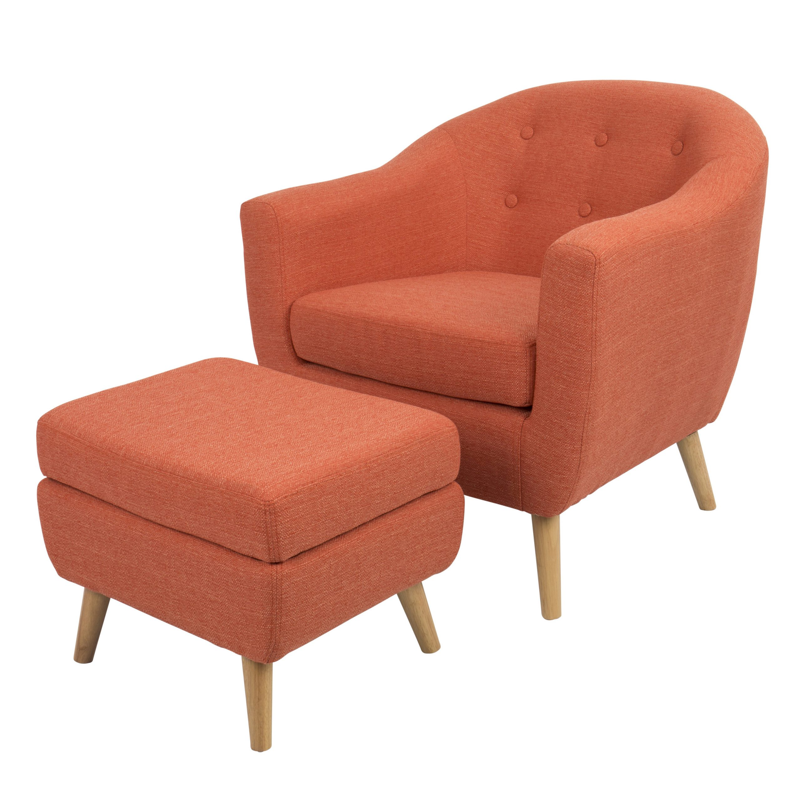 Artemi Barrel Chair And Ottoman Sets Inside 2019 Orange & White Accent Chairs You'll Love In (View 9 of 20)