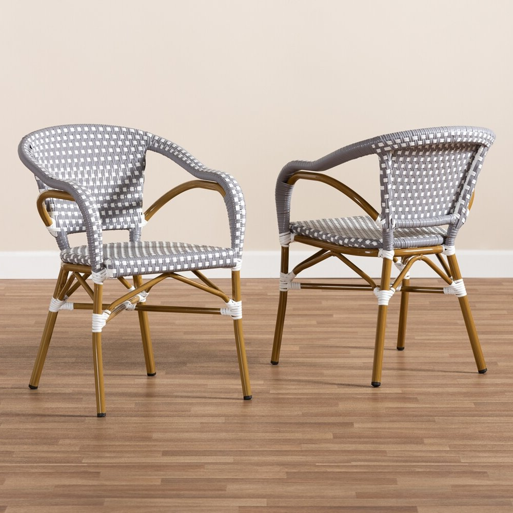 Artressia Barrel Chairs Throughout Trendy Artressia Stacking Bamboo Patio Dining Armchair With Cushion (View 4 of 20)