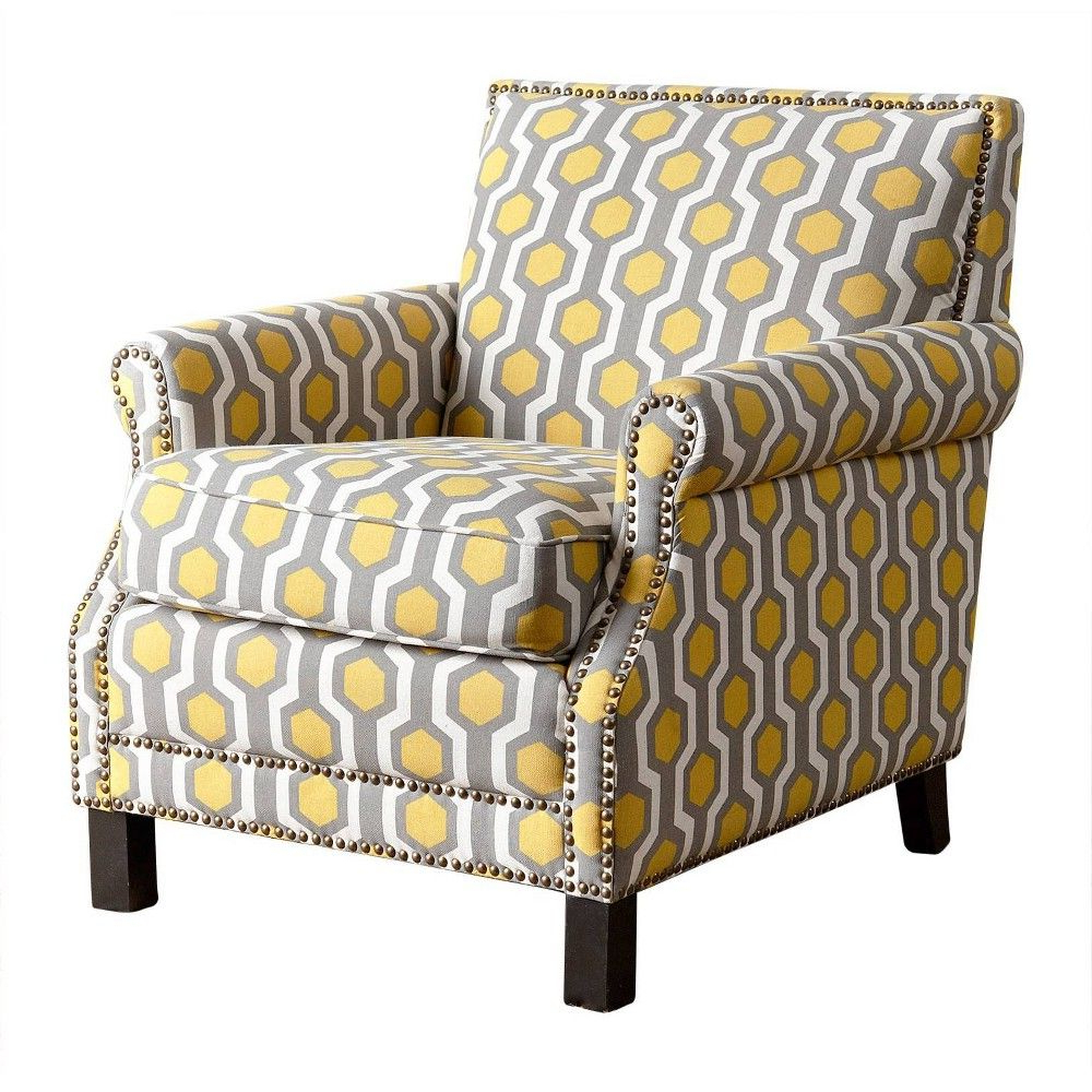 Asbury Club Chairs Intended For Most Recent Chloe Fabric Pattern Club Chair Yellow – Abbyson Living (View 15 of 20)