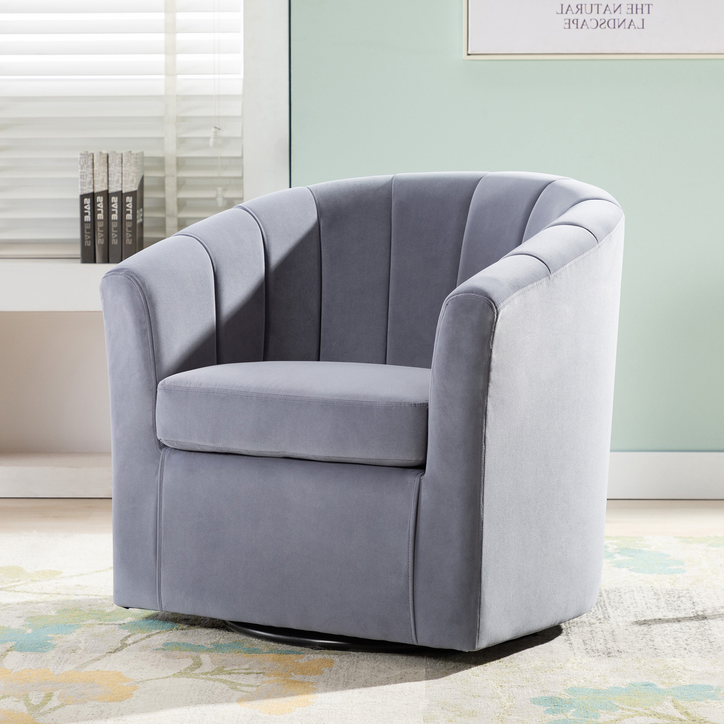 Barrentine Swivel Barrel Chair Pertaining To Most Recently Released Claudel Polyester Blend Barrel Chairs (View 2 of 20)