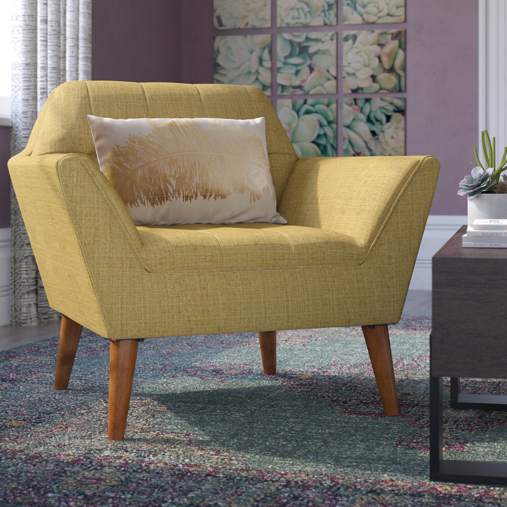 """Belz 38"""" W Tufted Polyester Armchair With Regard To Well Known Belz Tufted Polyester Armchairs (View 2 of 20)"""