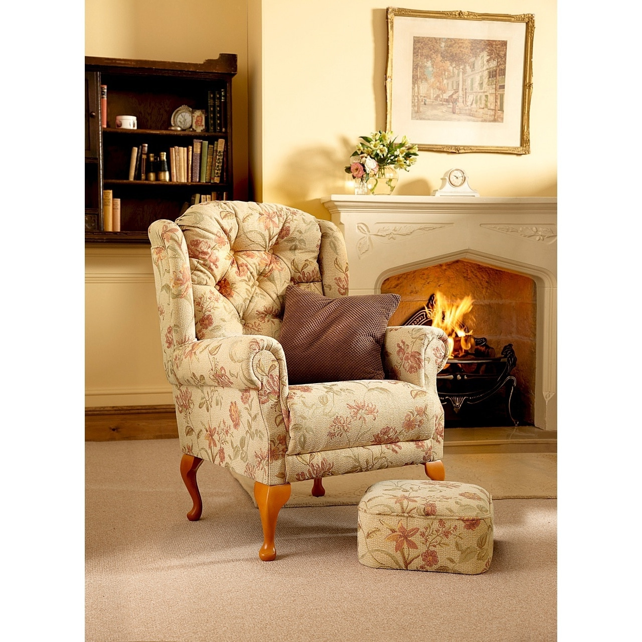 Bespoke Handmade Button Back Queen Anne Armchair With Most Popular Portmeirion Armchairs (View 6 of 20)