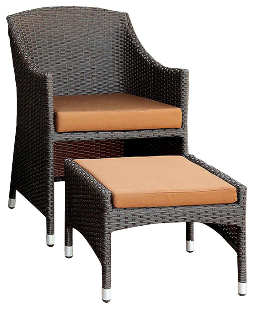 Best And Newest Almada Armchairs With Almada Bm131996 Contemporary Arm Chair With Ottoman, Brown And Espresso (View 4 of 20)