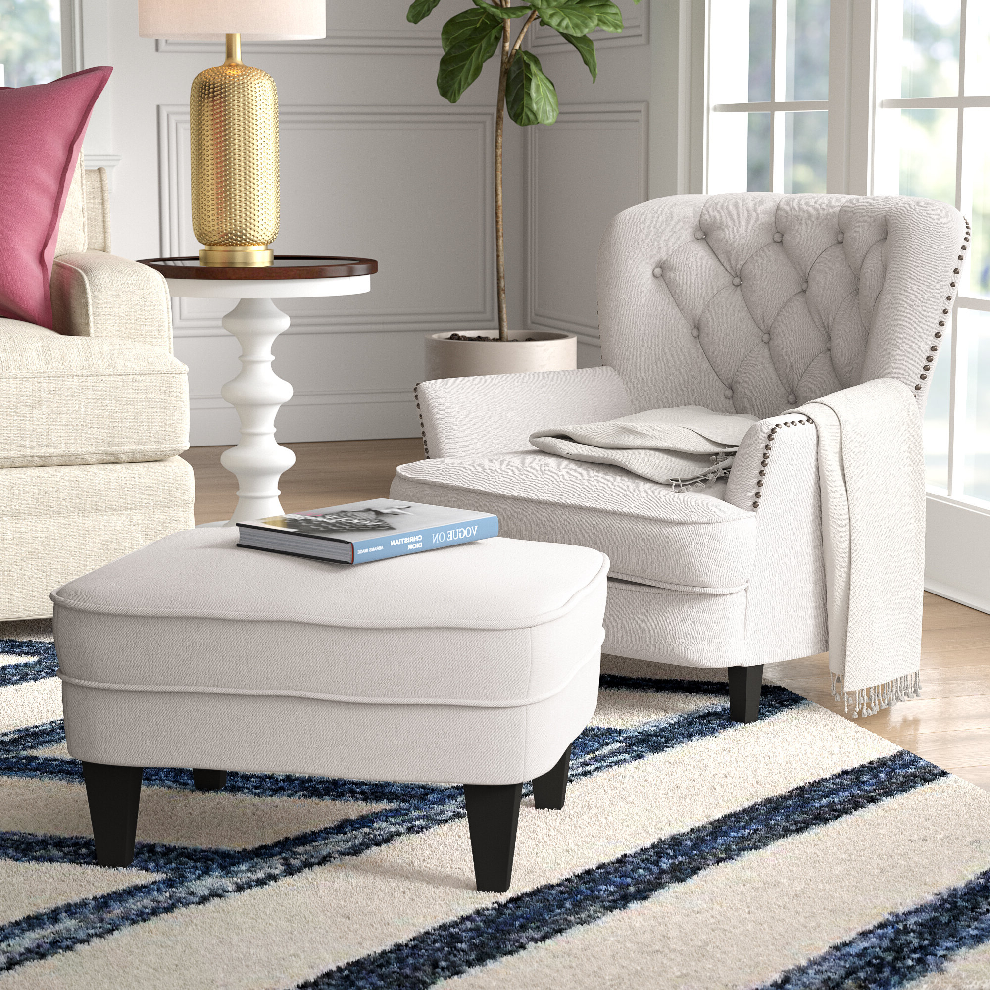 """Best And Newest Becker 24"""" Armchair And Ottoman Intended For Ronald Polyester Blend Armchairs (View 10 of 20)"""
