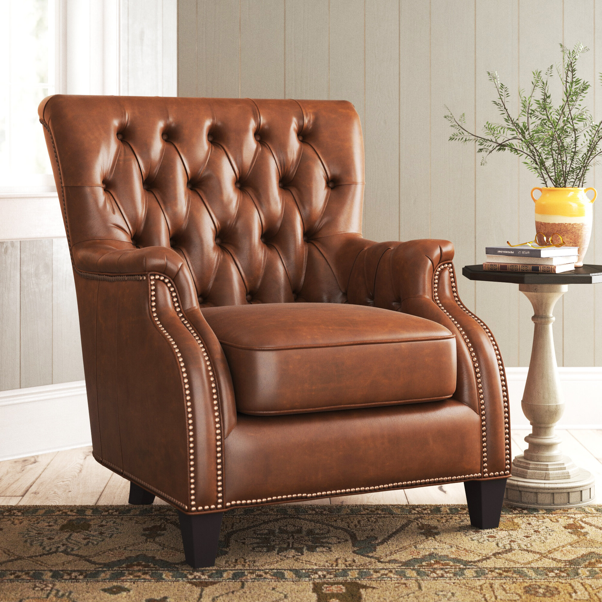 Best And Newest Farmhouse & Rustic Tufted Accent Chairs (View 18 of 20)