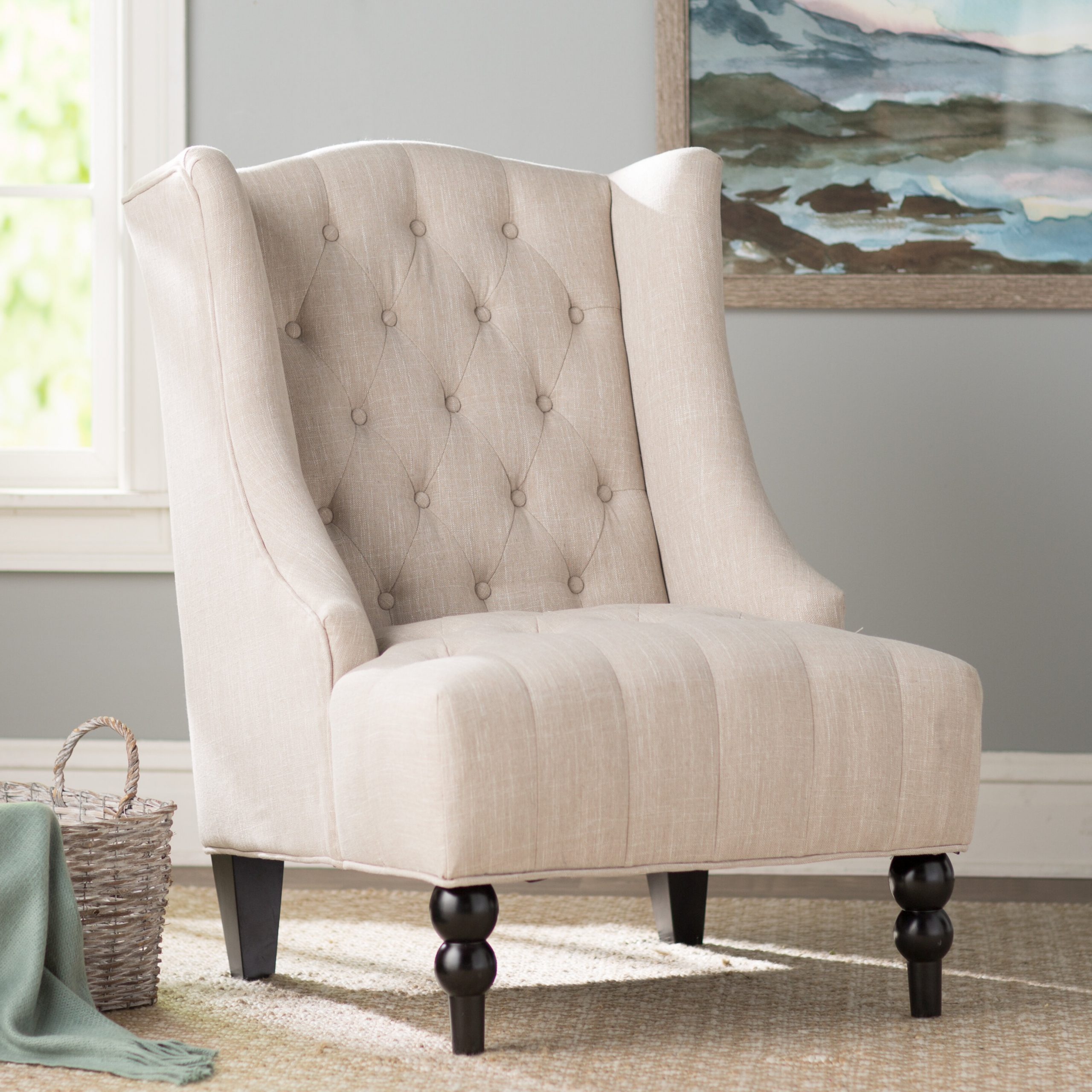 Best And Newest Waterton Wingback Chairs Pertaining To Espresso Wood Wingback Accent Chairs You'll Love In (View 4 of 20)