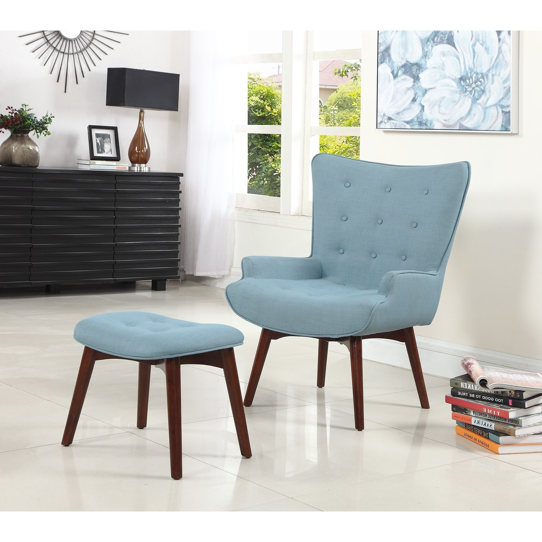Best Master Furniture Capri Arm Chair And Ottoman Pertaining To Most Current Ronald Polyester Blend Armchairs (View 8 of 20)