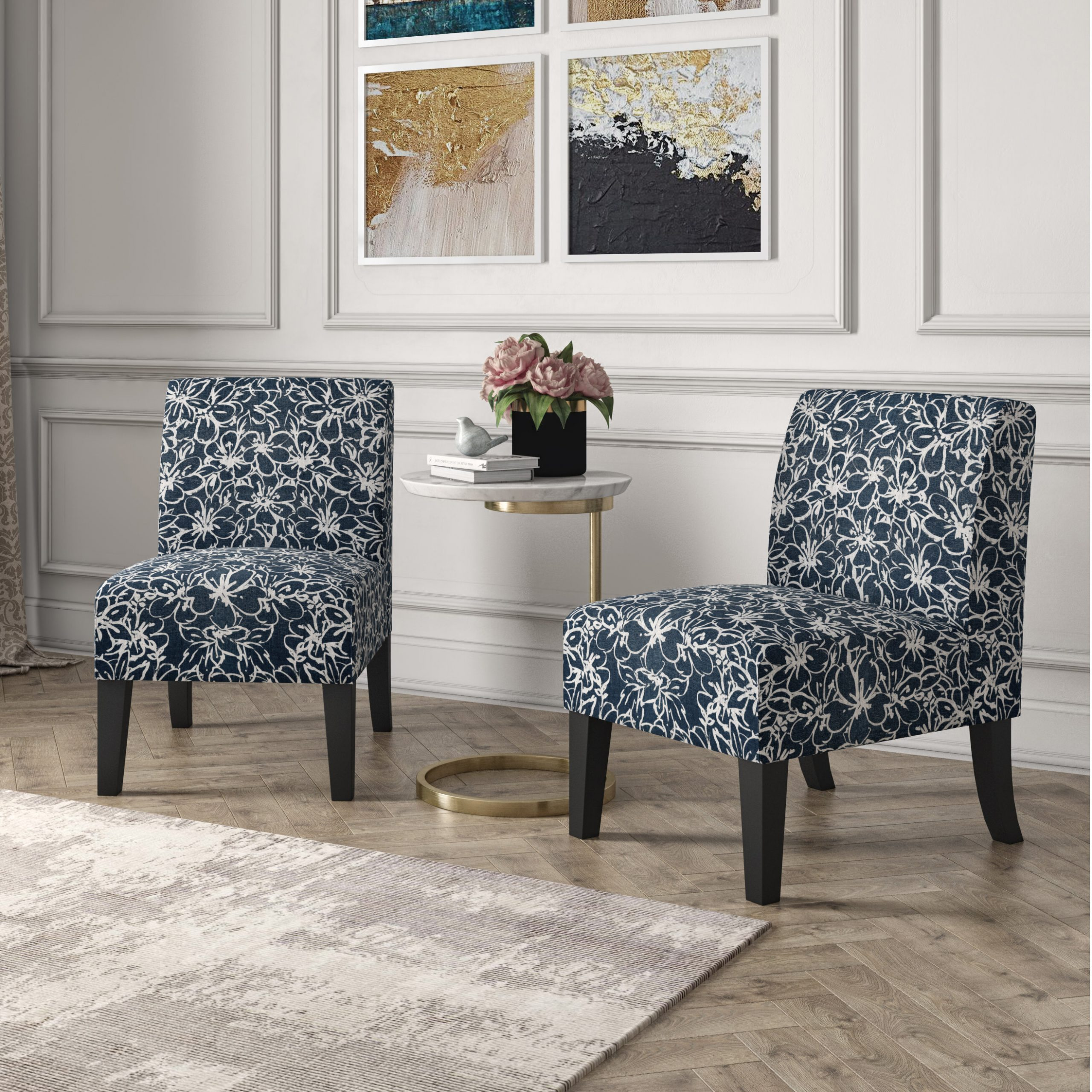 Bethine Polyester Armchairs (set Of 2) Regarding Well Known Blue Floral Accent Chairs You'll Love In (View 11 of 20)